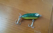 Vintage Heddon Tiny torpedo fishing lure unused condition bullfrog Green Yellow