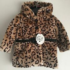 Billieblush Baby Girl Faux Fur Animal Leopard Brown Print Designer Coat 9