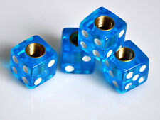 4 Blue Dice Insert Valve Dust Caps