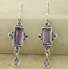 GENUINE AMETHYST ANTIQUE VICTORIAN STYLE .925 STERLING SILVER EARRINGS,     #885