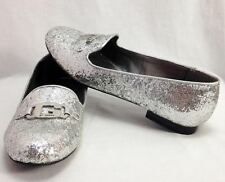 By Guess Blance Round Loafer Slip-On Flat Ballet Shoe Silver Glitter, Womens 10