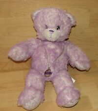 "Build A Bear Workshop 17"" iCarly Light Purple Sparkly Glitter Teddy w necklace"