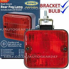 Universal Square Rear Bumper Mount Red Fog Lamp Light Blub + Bracket Ring RL014