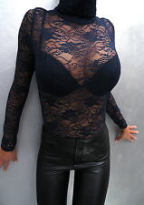 Top NEW Stretch Transparent MADE IN ITALY Sexy Shirt Hemd M95 Blouse Bluse Blau
