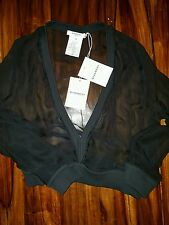 GIVENCHY Women New Black Silk Long sleevea Sheer Cropped Top Original with tags