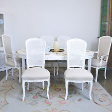Shabby Cottage Chic Tall Back Linen Cane Dining Chairs Set 6 White French Style