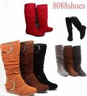 Women's Cute Slouch Comfort Casual Flat Mid Calf Knee High Round Toe Boot All