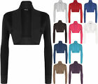 New Plus Size Womens Long Sleeve Plain Ladies Shrug Bolero Cardigan Top 16-26