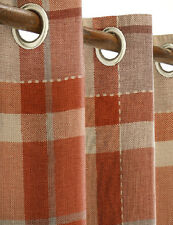 """NEXT Ginger Rustic Woven Check Orange Eyelet Curtains 135 x 137cm  53 x 54"""" NEW"""