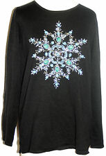 Quacker Factory Simulated Turquoise XS beaded black sweater snowflake