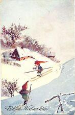 Weihnachten, Zwerge als Skifahrer, sign. Th, Verlag B.K.W. Nr 2038-2, 1909