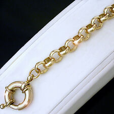 """7mm 14k Yellow GOLD Layered NEW BELCHER LINK 16"""" Necklace & Bolt Ring"""