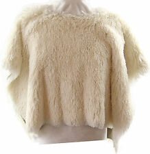 New women's shawl sherpa bonded pull over poncho winter warm one size beige