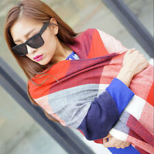 Warm Winter Women Long Cashmere Wool Scarf Large Shawl Lady Plaid Scarf Red&Blue
