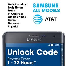 Black lst USA AT&T Premium Samsung Galaxy S7 S6 Edge S5 S4 S3 S2 Unlock Code N