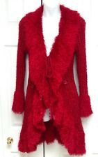 Shana K Size M Red Fuzzy Cardigan Knee Length Sweater Worn Once!