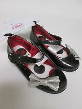DISNEY GIRLS MINNIE MOUSE BLACK SILVER SPARKLE BOW RED FLATS SHOES Y9 NWT