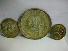 Lot of 3 Vintage Made in England Hammered Brass Wall Decoration (1) Peerage