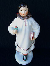 Antique USSR RUSSIAN LOMONOSOV FIGURINE ESKIMO GIRLW/ BOOK /BY S. VELIHOVA