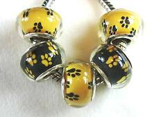 5 pc Puppy Dog Paw Prints Tracks Acrylic Bead for European Big Hole Jewelry USA