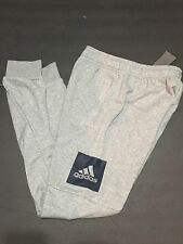 adidas Men's Training Essentials Box Logo Grey Navy Sweat Pants SMALL NEW BK7440