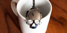 2x Skull Spoon Tea Sugar Novelty Silverware Silver Stainless Steel Collectible