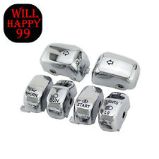 Chrome 6 Pcs Hand Contorl Switch Housing Button Cover Cap Kit for Harley Electra
