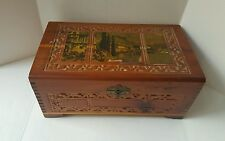 VINTAGE WOOD DOVE-TAILED BOX~METAL CLOSURE~JEWELRY~TRINKETS~Letters