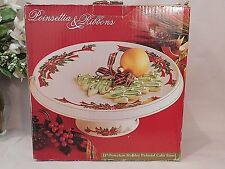Porcelain Holiday Poinsettia & Ribbons 11-inch Pedestal Cake Stand in box