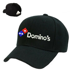 DOMINO'S PIZZA DELIVERY LOGO STITCHED EMBROIDERED BASEBALL CAP BLACK ADJUSTABLE