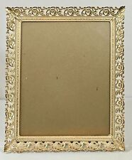 Vintage Picture Photo Frame 8 x 10 Metal Filagree Tabletop Gold Tone White Decor