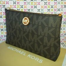 Michael Kors Fulton Signature PVC Travel Cosmetic Case/Pouch in BROWN.