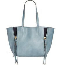 Authentic Chloe Medium Milo Calfskin Leather Tote Cloudy Blue Leather & Suede