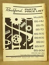 Bridgstone Rockford Scooter Parts Price List Book 1965 BS-HM BS-7S BS-90 BS-60