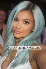 Lace Front Wig Ombre Synthetic Hair Dark Roots&Blue Long Straight Heat Resistant