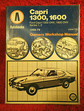 Autobooks Workshop Manual Ford Capri OHV Mk1 & Mk2 from 1968 to 1979.