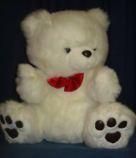 Huge White Plush Bear 21 Red Bow Tie NWOT Stuffed Teddy JP11 Animal Valentine