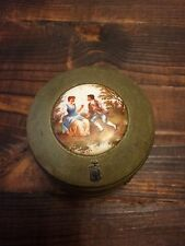 Vintage~Antique Powder Jar~Box~Music~1930's-1940's~Green~Metal