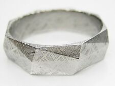 Sz 14  GIBEON IRON NICKEL RHOMBUS CUT METEORITE 5.5MM WIDE BAND RING