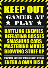 A5 Print – KEEP OUT Gamer at Play (Picture Gaming PS4 XBOX ONE SEGA NINTENDO)