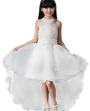 Kids Flower Girls White Bridesmaid Party Wedding Birthday Dress Dresse 130(6-7Y)