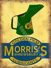 Morris Oil Can, Golden Film Lubricants Old Vintage Garage, Small Metal/Tin Sign