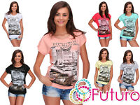 Ladies Summer T-Shirt Alpes Print Short Sleeve Casual Top Size 8-14 FB272