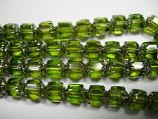 25 Olivine Green with Silver Cathedral Czech Glass 6mm beads