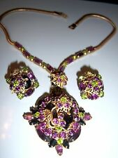 VINTAGE JULIANA D&E GOLD FILIGREE AMETHYST RHINESTONE NECKLACE EARRING SET