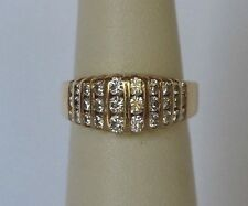 14k Yellow Gold Channel Set Diamond Ring Sz 6.5, 8.3 grams Right Hand/ Statement