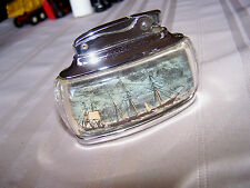 Vintage Ronson Trophy Lucite Dual Sided Ship Table Lighter Nice One