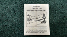 LIONEL # 262 HIGHWAY CROSSING GATE INSTRUCTIONS PHOTOCOPY
