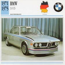 1971-1975 BMW 3.0 CS Classic Car Photo/Info Maxi Card