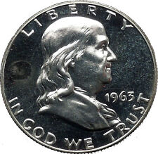 1963 Benjamin Franklin Silver Half Dollar United States Coin Liberty Bell i44904